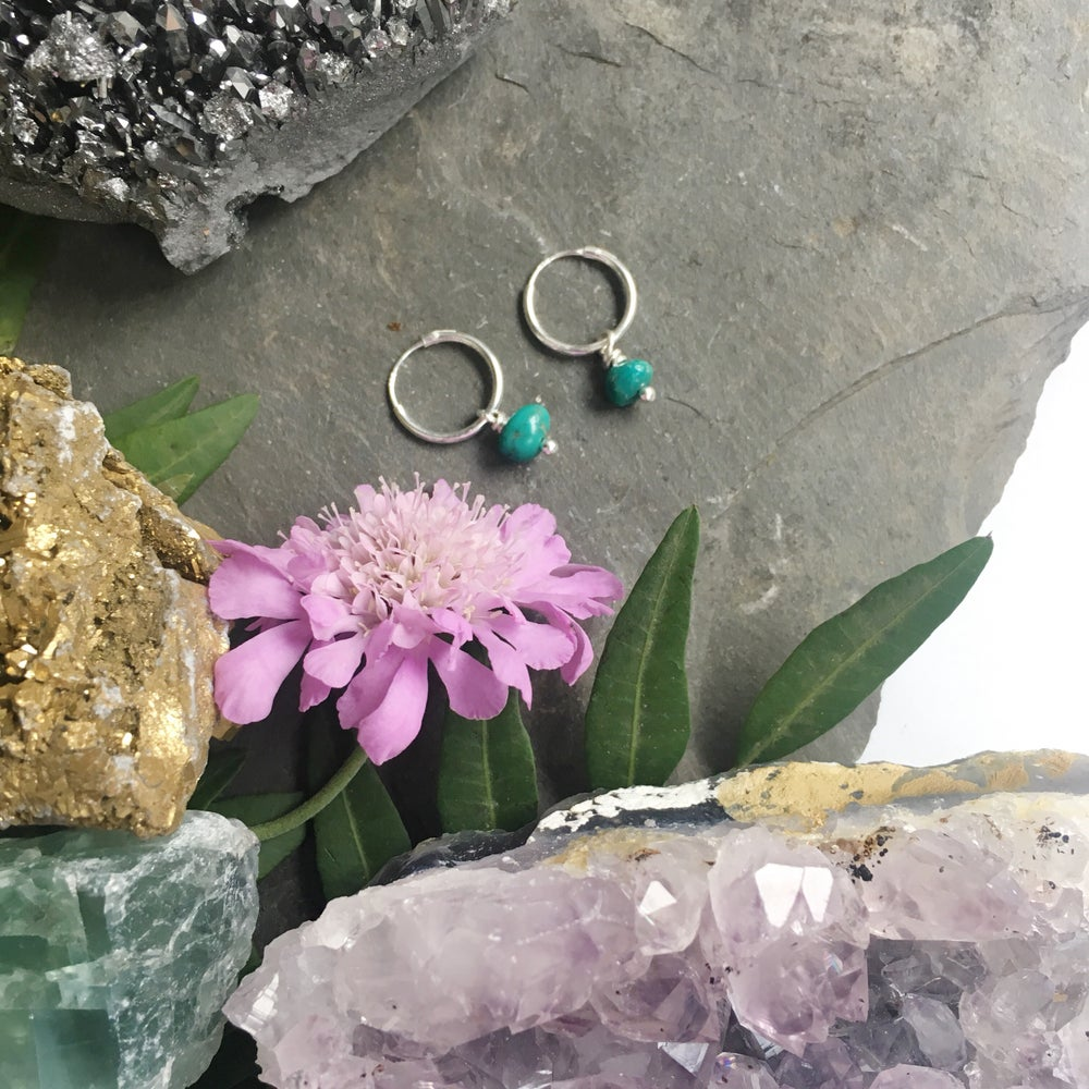 Image of Turquoise Hoop Earrings - Sterling Silver