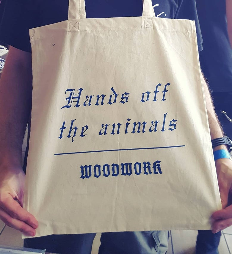 Image of HANDS OFF THE ANIMALS tote bag