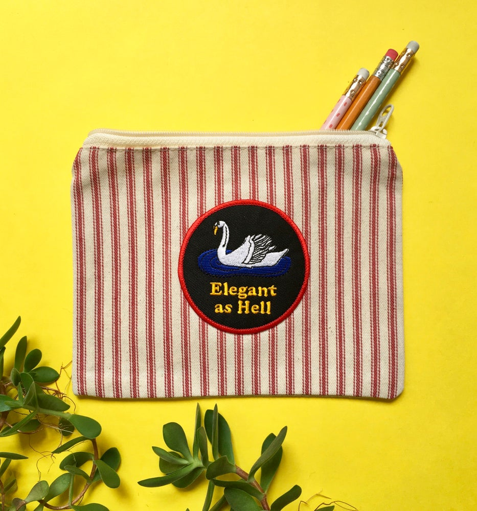 Image of Elegant as Hell Pouch - cotton ticking