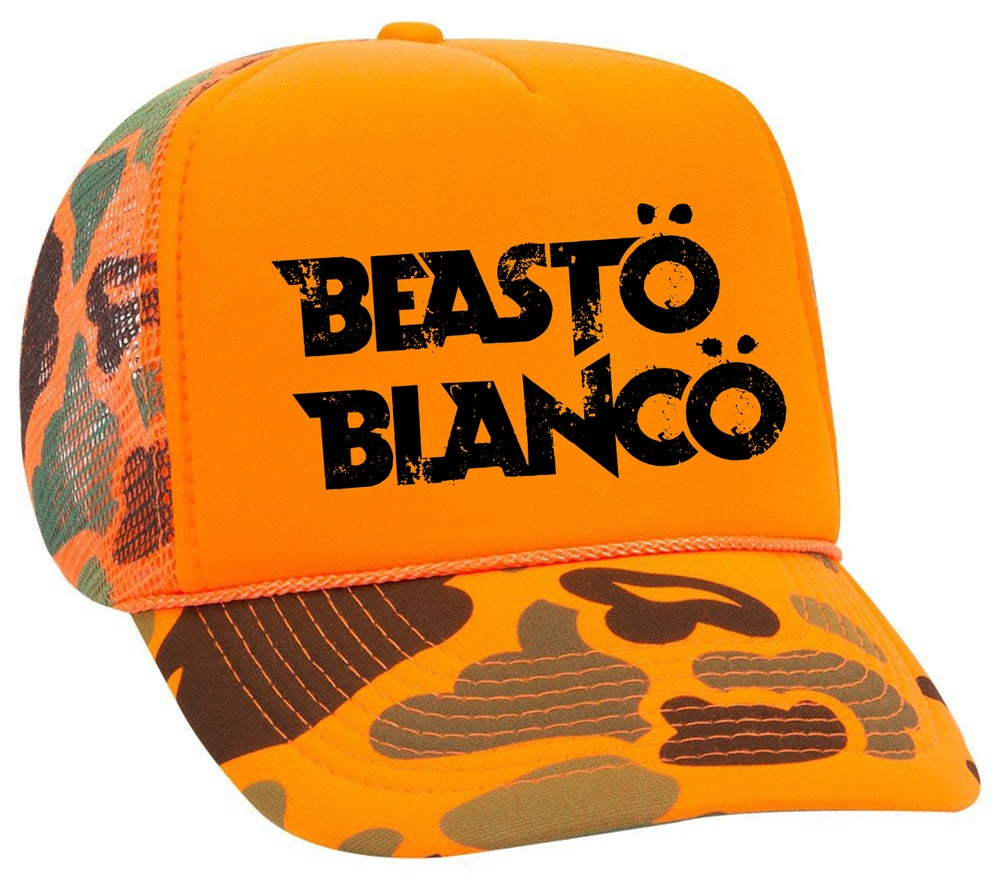 "Image of OFFICIAL - BEASTO BLANCO ""ORANGE CAMO"" TRUCKER HAT"