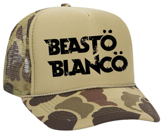 "Image of OFFICIAL - BEASTO BLANCO - ""GREEN CAMO"" TRUCKER HAT"