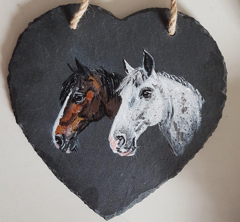 Image of Pet Portrait Commission Slate Heart (Double)