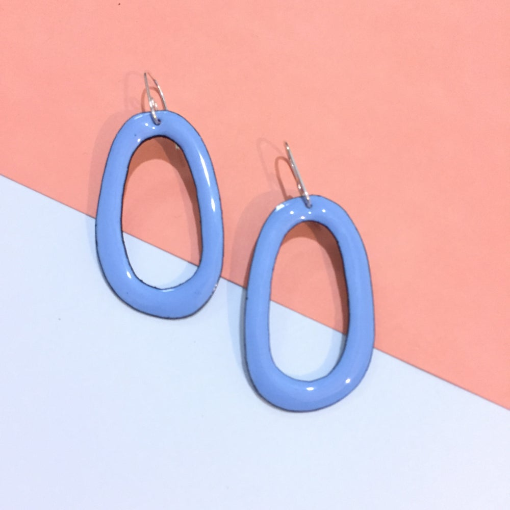 Image of Enamel hoops - Sky blue