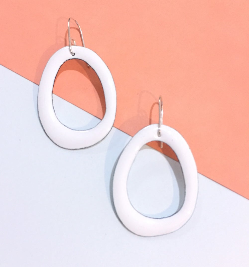 Image of Enamel hoops -  White