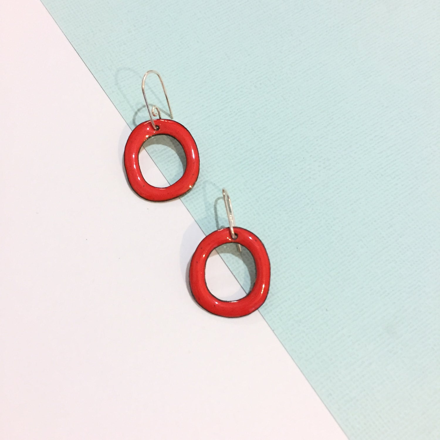 Image of Enamel hoops - Cherry red - small