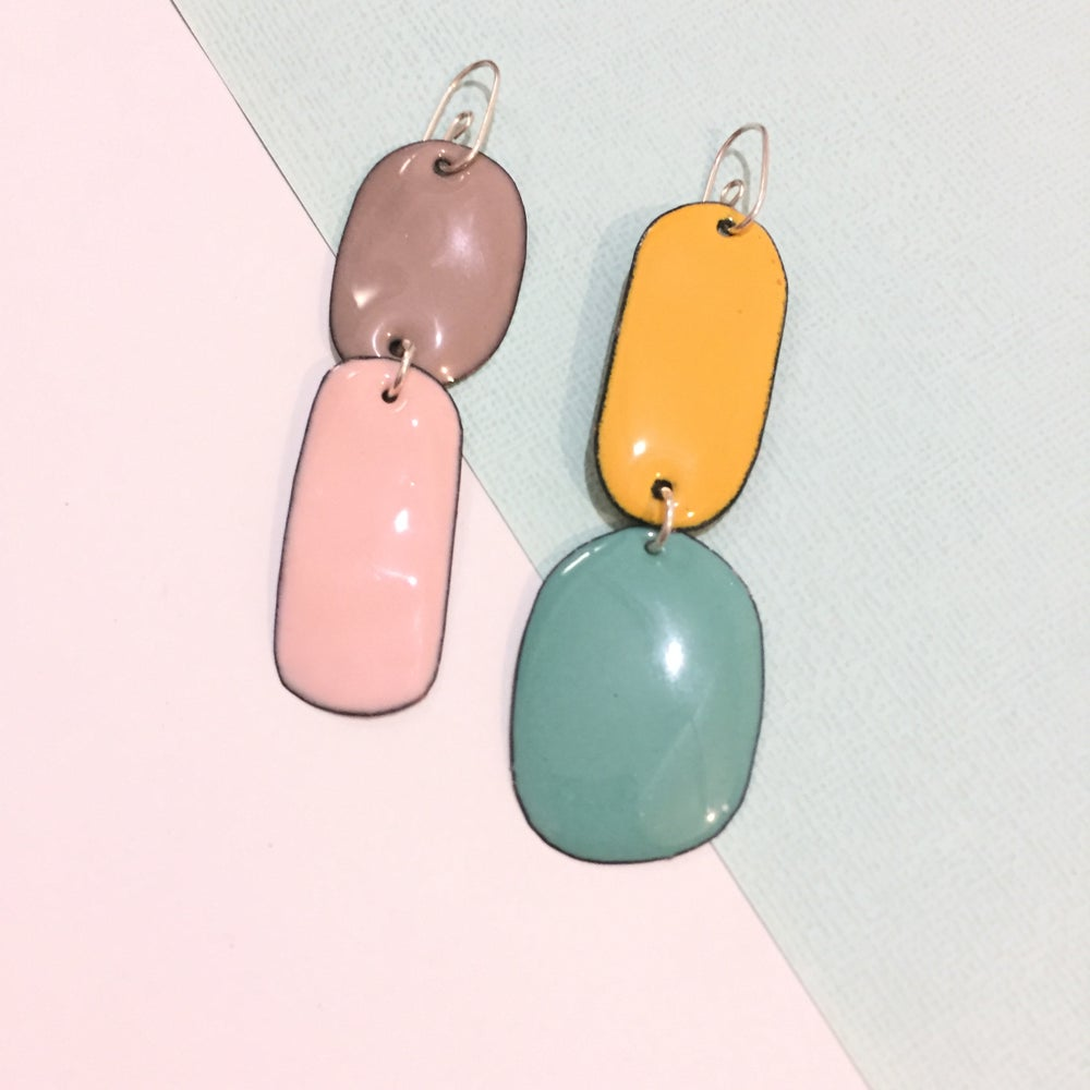 Image of Enamel double drops - mismatched - Taupe, Blush pink, mint and yellow