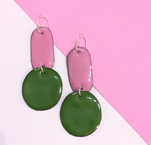 Image of Enamel double drops - cheeky pink & Pine green