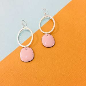 Image of Sterling silver hoops with blush pink enamel drop