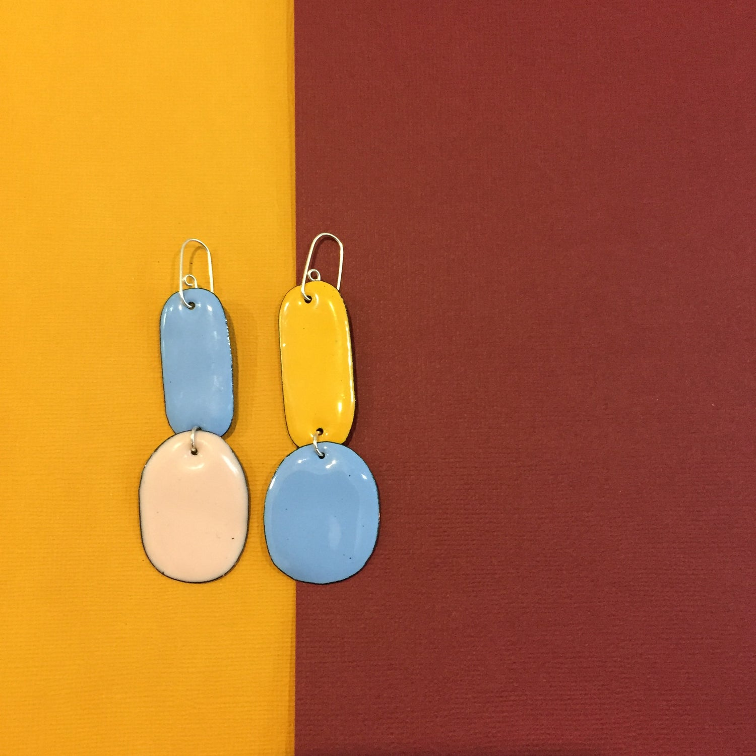 Image of Enamel double drops - mismatched - Blue, Blush pink, Yellow and Sky blue