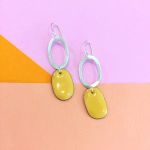 Image of Sterling silver hoops with Butter yellow enamel drop