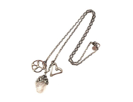 Image of One of a Kind Peace Love and Rose Quartz Charm Necklace