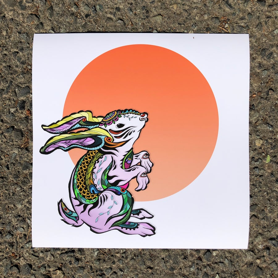 Image of Rabbit on the Moon Print