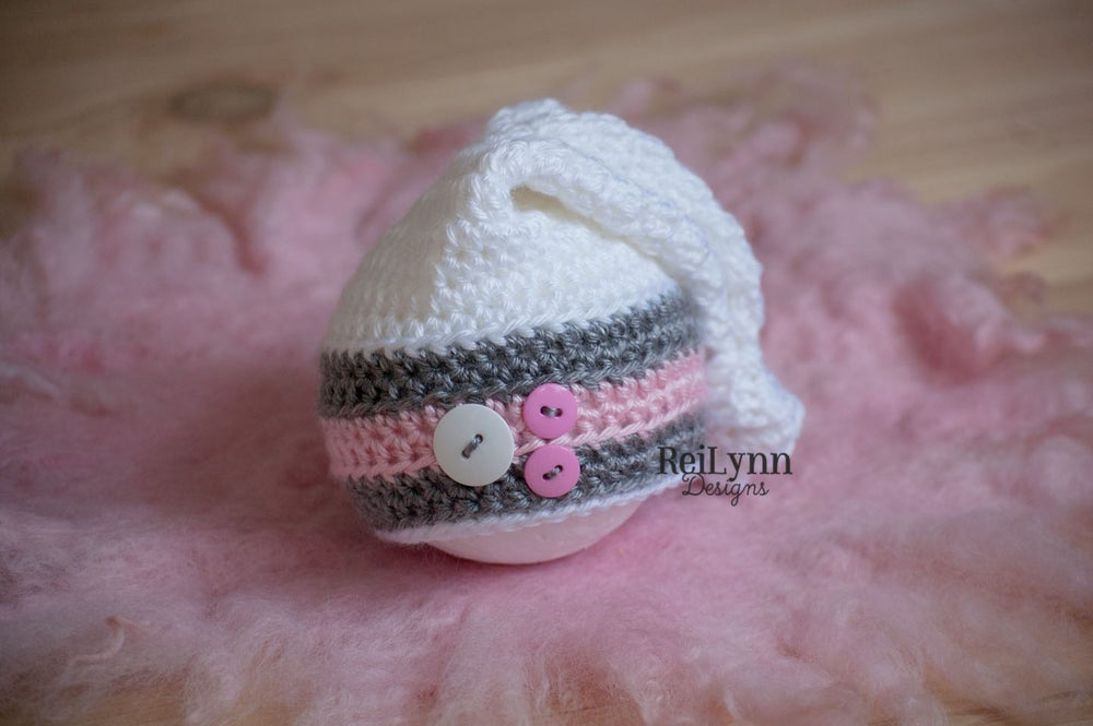 Image of White, Gray and Pink Knot Top Hat Newborn Photography Prop