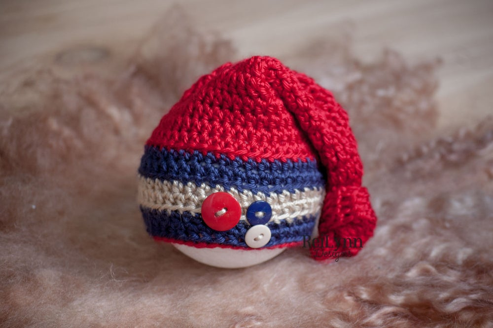 Image of Red, Navy, and Bone Knot Top Hat Newborn Photography Prop