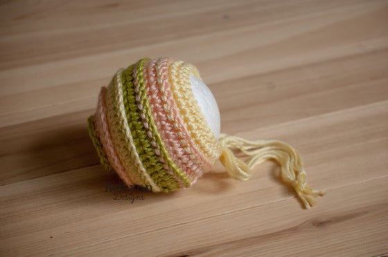 Image of Baby Maize, Peach and Chartreuse Newborn Photography Bonnet