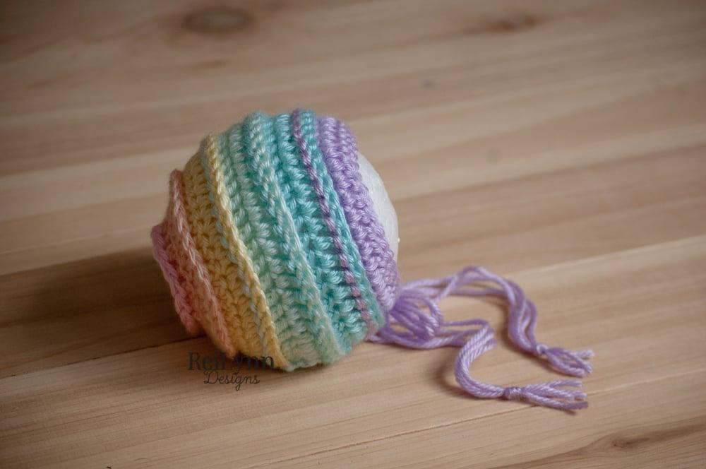 Image of Pastel Rainbow Newborn Photography Prop Bonnet