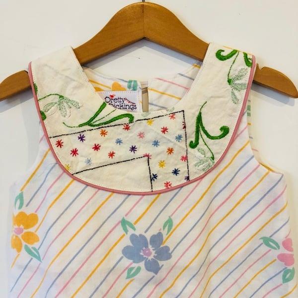 Image of Sweet stitches dress - size 3 - pastel stripes