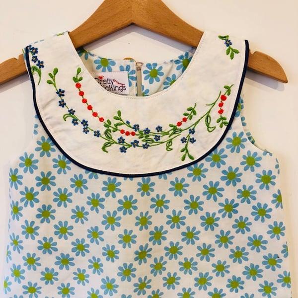 Image of Sweet Stitches dress - size 3 - blue/green daisy