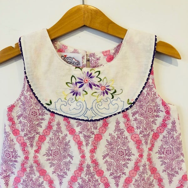 Image of Sweet Stitches dress - size 3 - pink/purple flowers
