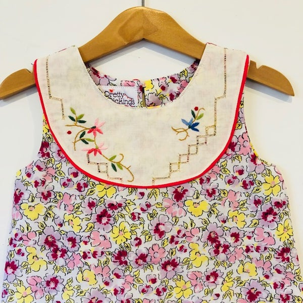 Image of Sweet Stitches dress - size 3 - yellow/pink garden