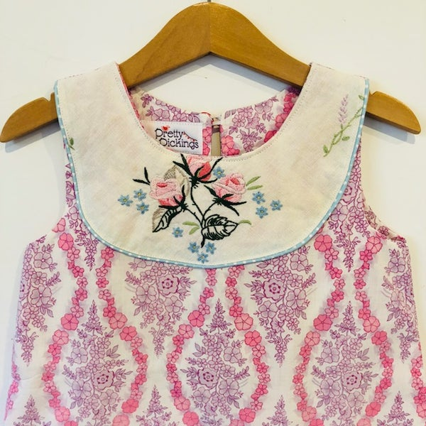 Image of Sweet Stitches dress - size 4 - pink/purple flowers