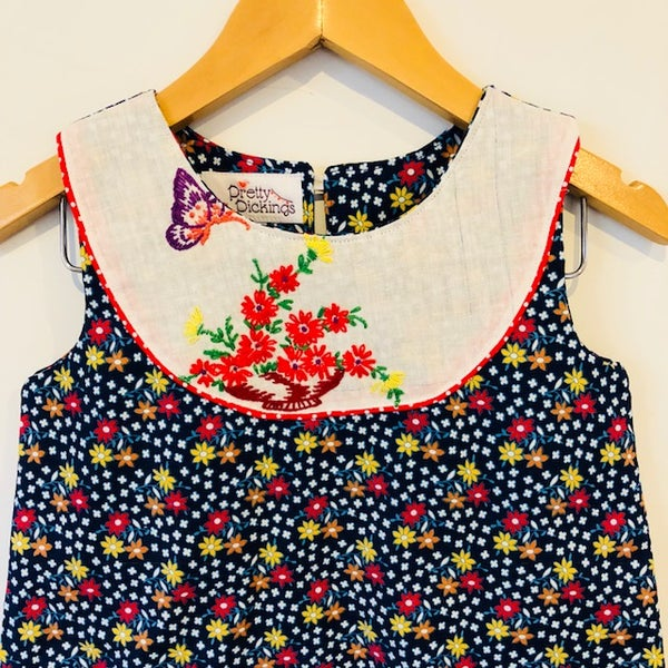 Image of Sweet Stitches dress - size 4 - navy floral