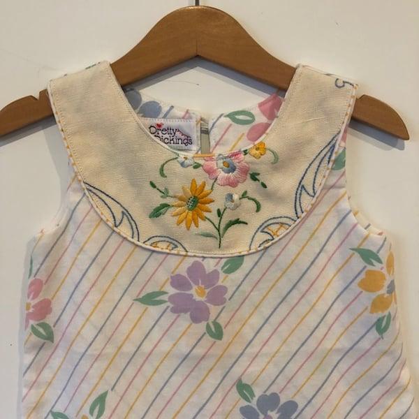 Image of Sweet Stitches dress - size 2 - pastel stripes