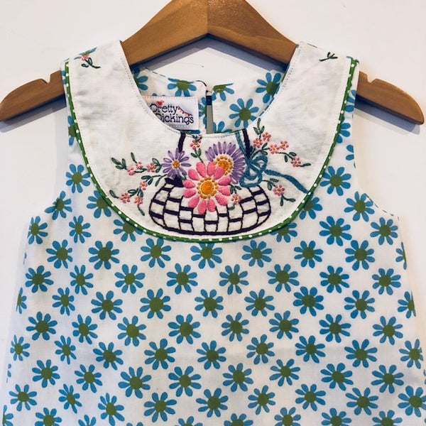 Image of Sweet Stitches dress - size 2 - blue/green daisy