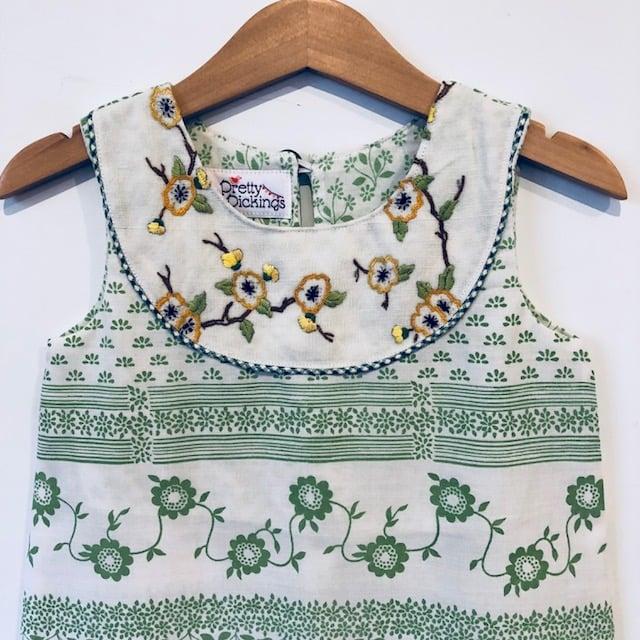 Image of Sweet Stitches dress - size 2 - green stripey garden