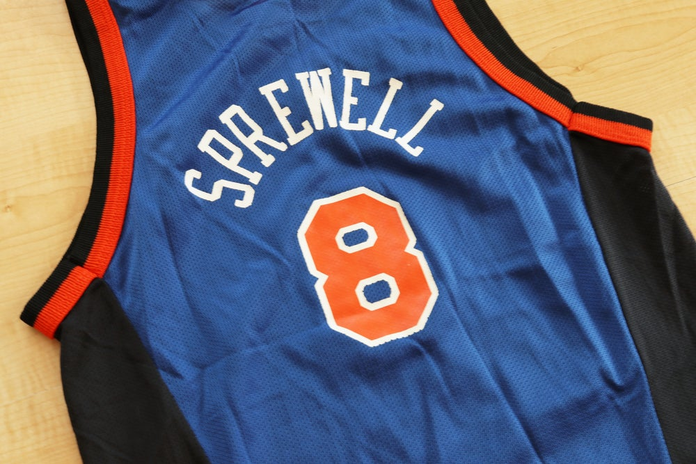 Image of Vintage 1990's New York Knicks Latrell Sprewell Champion Jersey Sz.M (Youth)