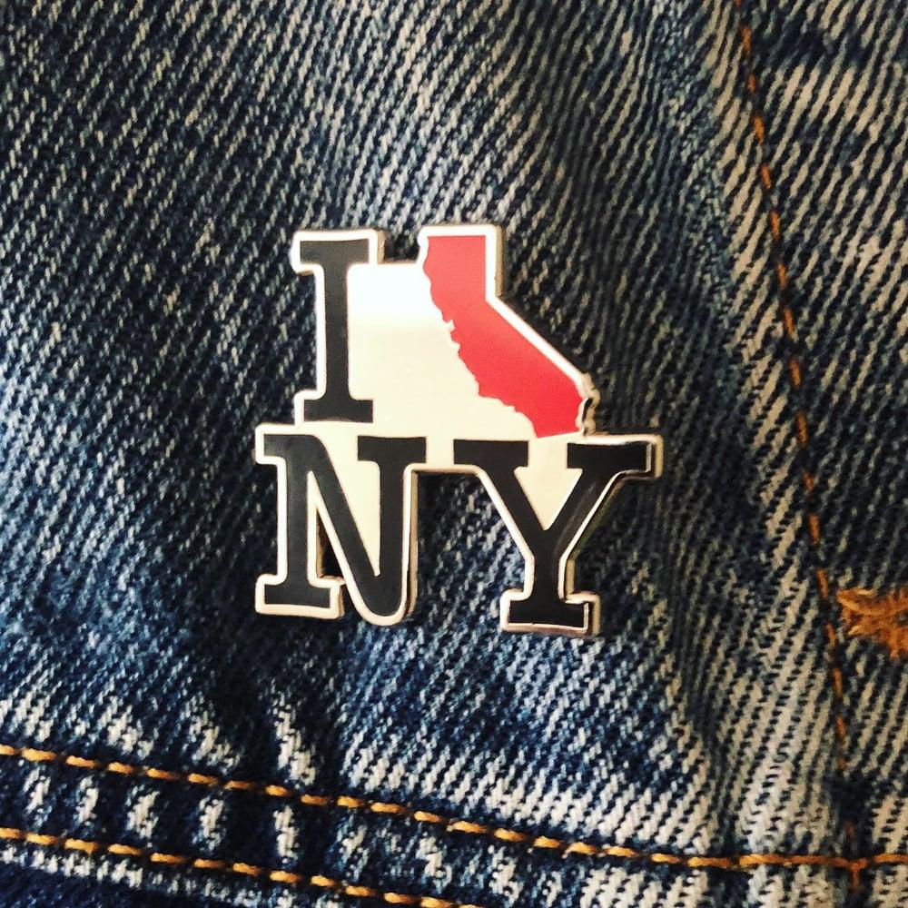 Image of I CA NY LAPEL PIN - Riot Style x Scraps Shoppe I California New York