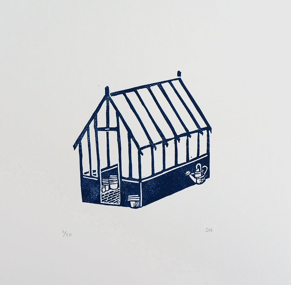 Image of 'Greenhouse' - Linocut Print