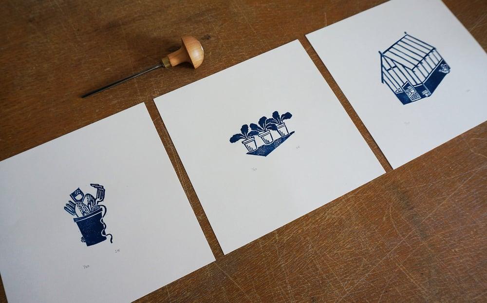 Image of 'Tool Pot' - Linocut Print