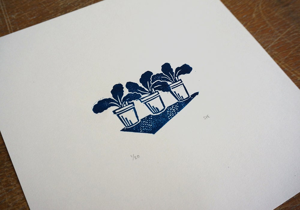 Image of 'Potting Up' - Linocut Print