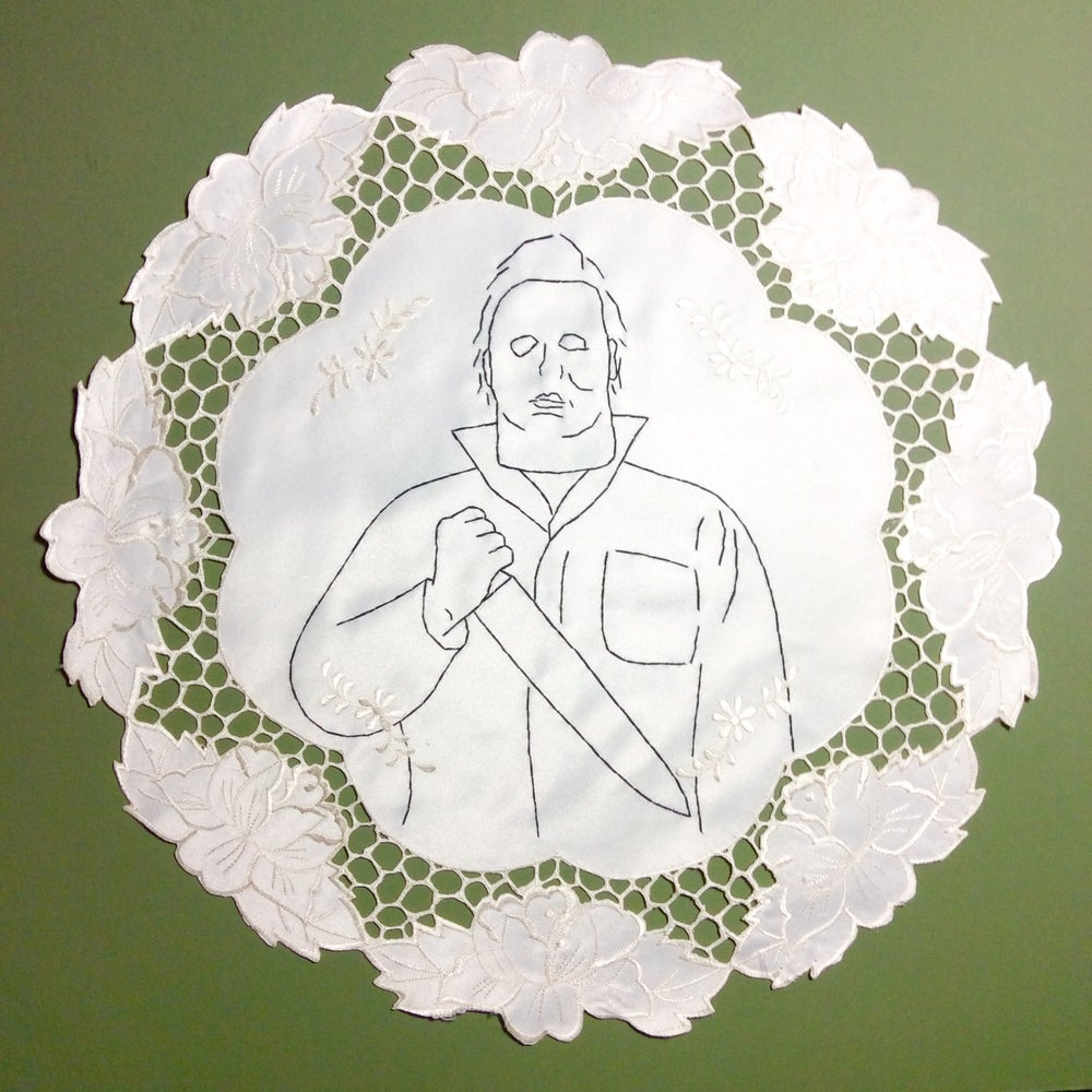 Image of Halloween - Hand Embroidered Michael Myers on Vintage Doily