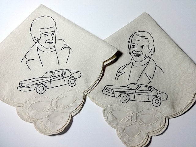 Image of Starsky and Hutch - Hand Embroidered Vintage Cocktail Napkins