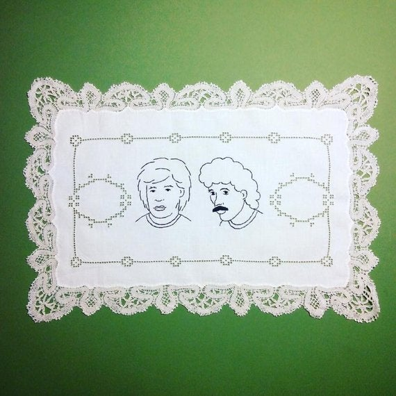 Image of Hall and Oates - Hand Embroidered Vintage Doily