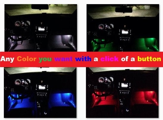 Image of Footwell LEDs Red, blue, brighter white or Color changing for the NEW VW Tiguan