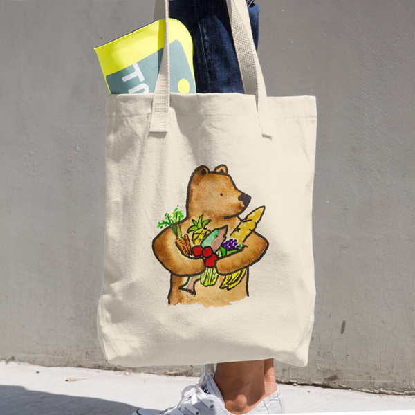 Image of Bear With Food Denim Woven Cotton Grocery Tote - Made In The USA