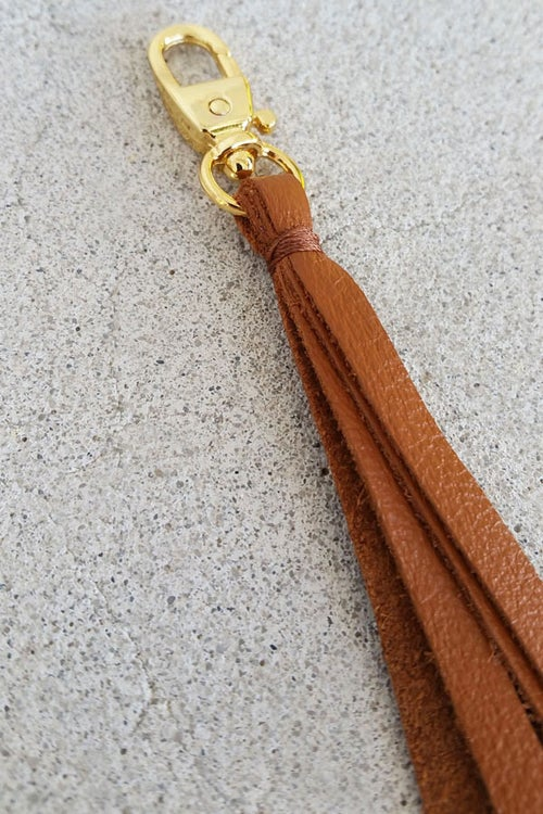 Image of Leather Zipper Pull / Mini Tassel Accessory / Handbag Tassel Charm - Choice of Leather Color