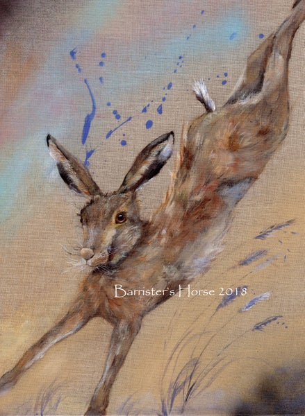 Image of PLAYFUL HARE, ORIGINAL ACRYLIC ON CANVAS PAINTING