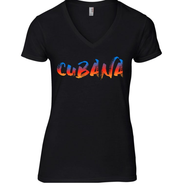Image of Cubana women's V neck Black & Sunset