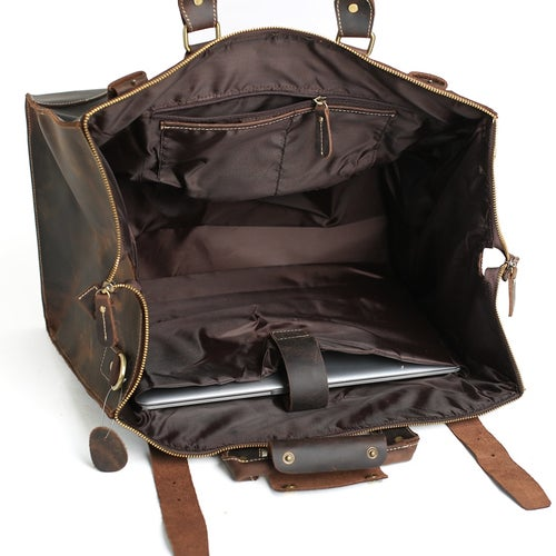 Image of Extra Large Vintage Genuine Leather Duffle Bag, Travel Bag, Handbag 3151