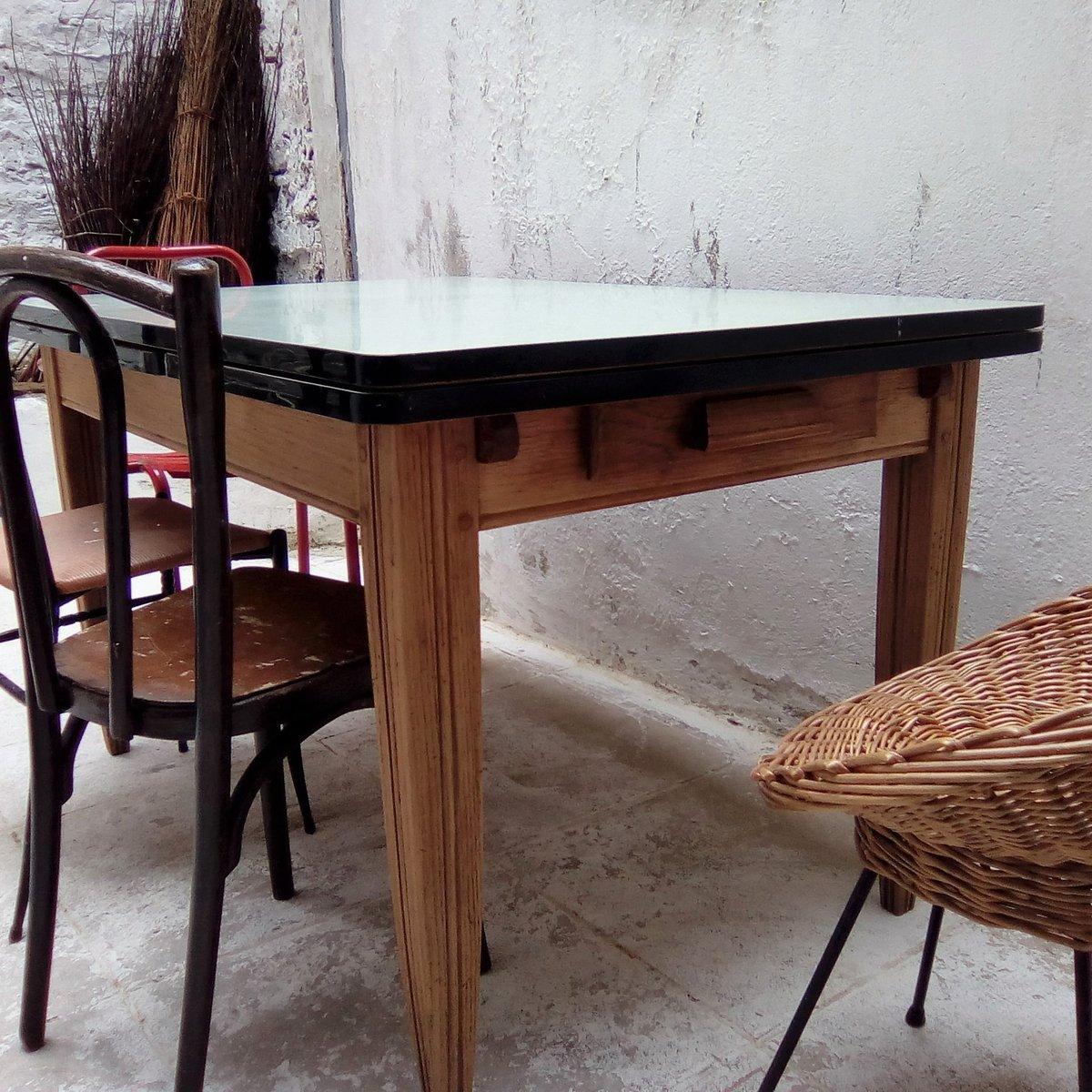 table de ferme bois formica fibresendeco vannerie. Black Bedroom Furniture Sets. Home Design Ideas