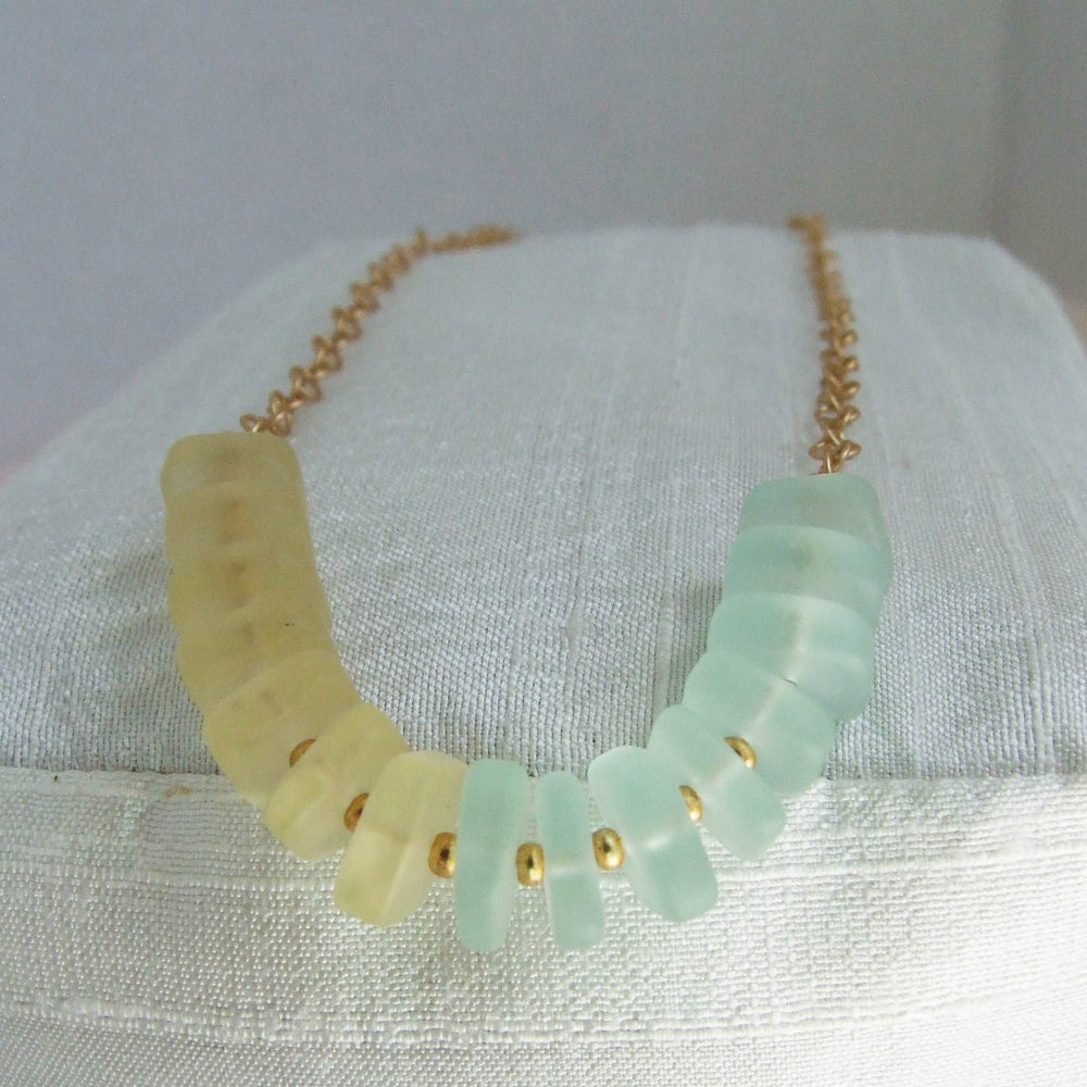 Image of Pastel Yellow & Seafoam Sea Glass Necklace