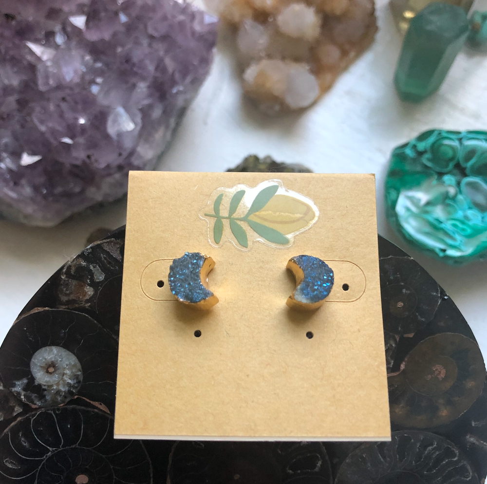 Image of Titanium Druzy Moon Crescent 14k Gold-Dipped Stud Earrings