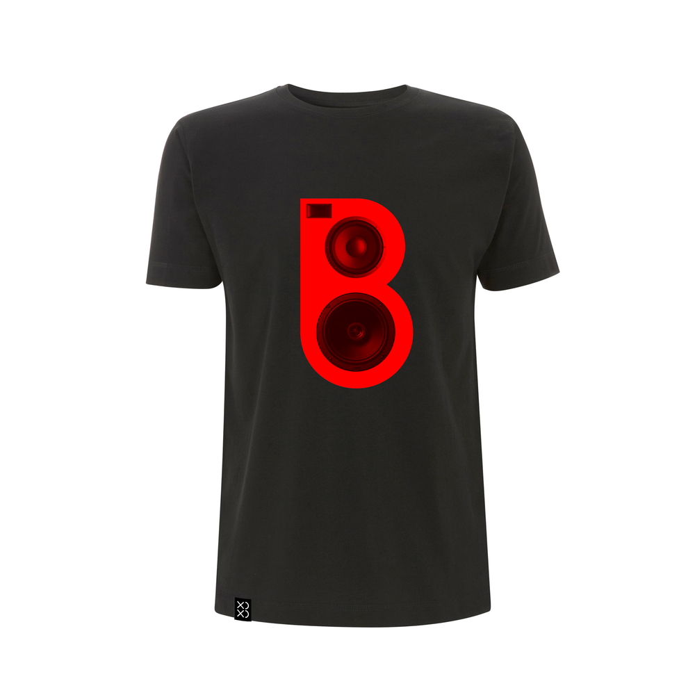 Image of Bedrock Red Speaker T-shirt Black (Pre-order)