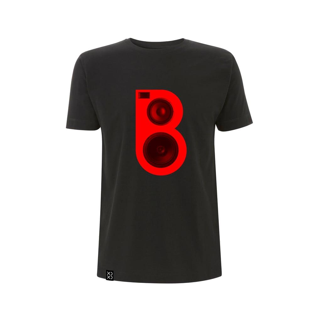 Image of Bedrock Red Speaker T-shirt Black