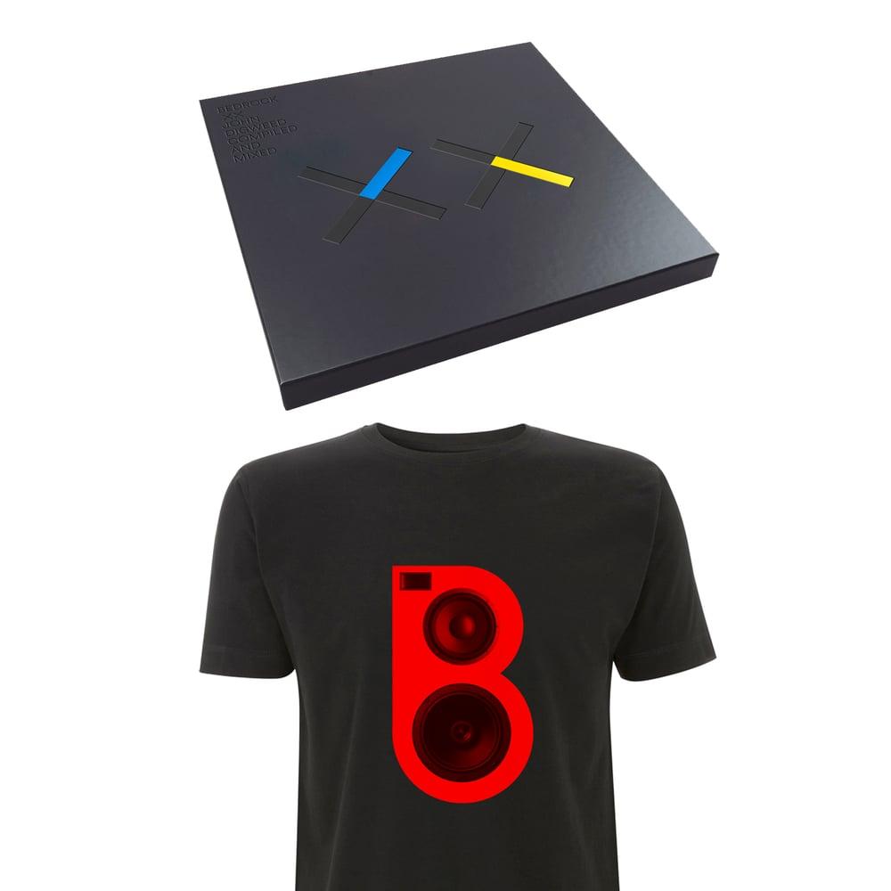 Image of Bedrock XX Deluxe Vinyl & CD Box Set, Signed Print & Red Speaker T-shirt (Pre-order)