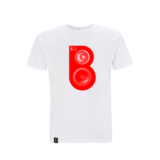 Image of Bedrock Red Speaker T-shirt White  (Pre-order)